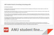 ANU student fined for breaching restraining order By Michael Bachelard 5 Nov 1992 P 14