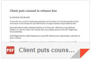 Client puts counsel in witness box By Michael Bachelard Sat 17 Oct 1992 Page 3