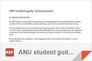 ANU student guilty of harassment By Michael Bachelard 15 Sep 1992 P 8